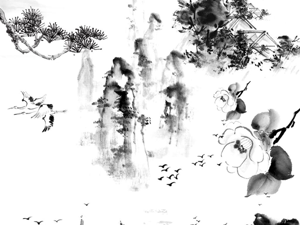 中国风水墨山水复古印刷png水彩矢量素材图片