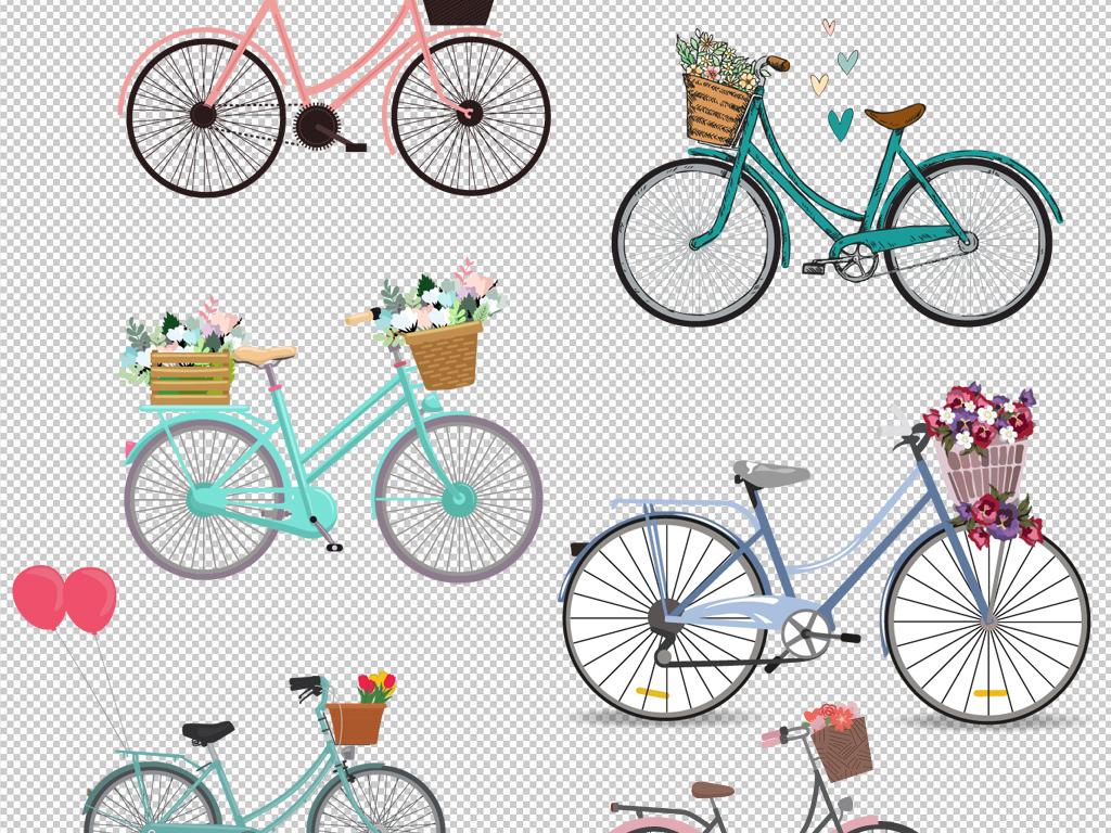 手绘自行车骑自行车卡通情侣