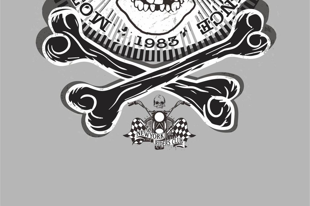 摩托车骷髅头字母ai矢量图潮牌t恤图案