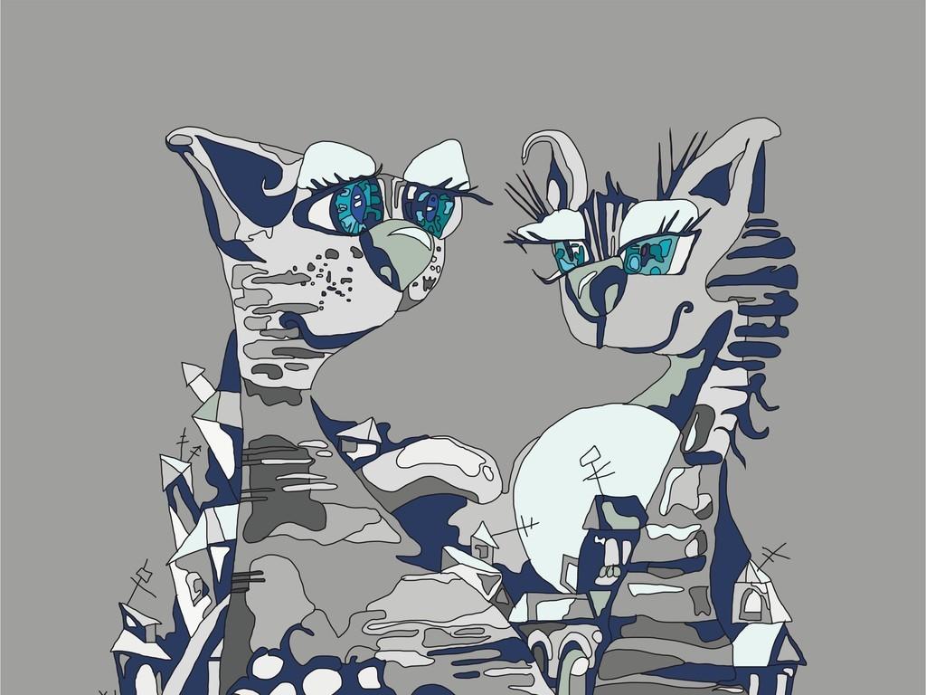 ai)猫ai卡通动物ai动物图案ai潮牌图案设计t恤卫衣图案ai素材趣味动物