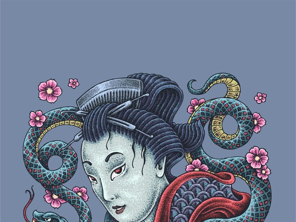 背景手绘花卉线描