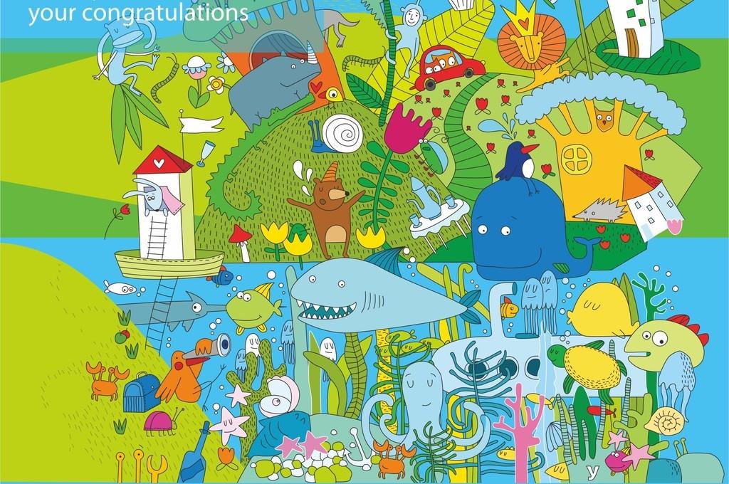 卡通动物植物字母组合图案卡通ai印花素材