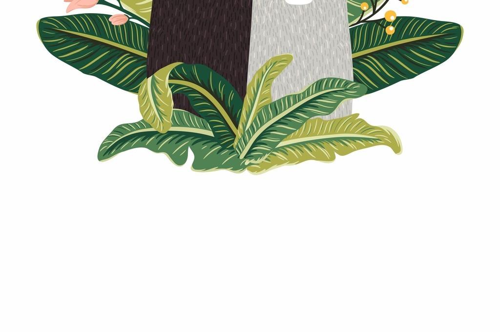 卡通猫咪植物花卉组合图案ai印花矢量图