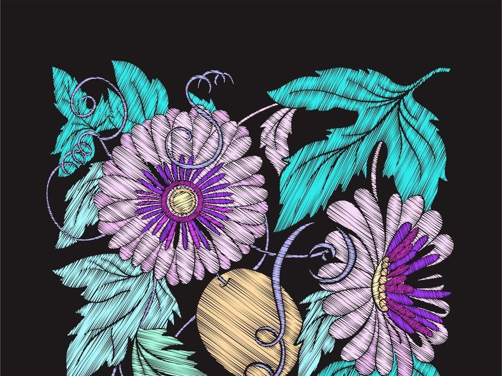 植物花卉图案可编辑服饰印花ai印花矢量图