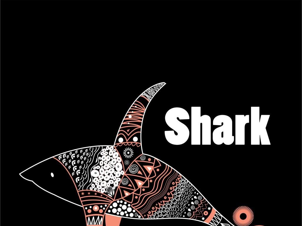 鲨鱼印花文字动物组合图案t恤ai矢量图