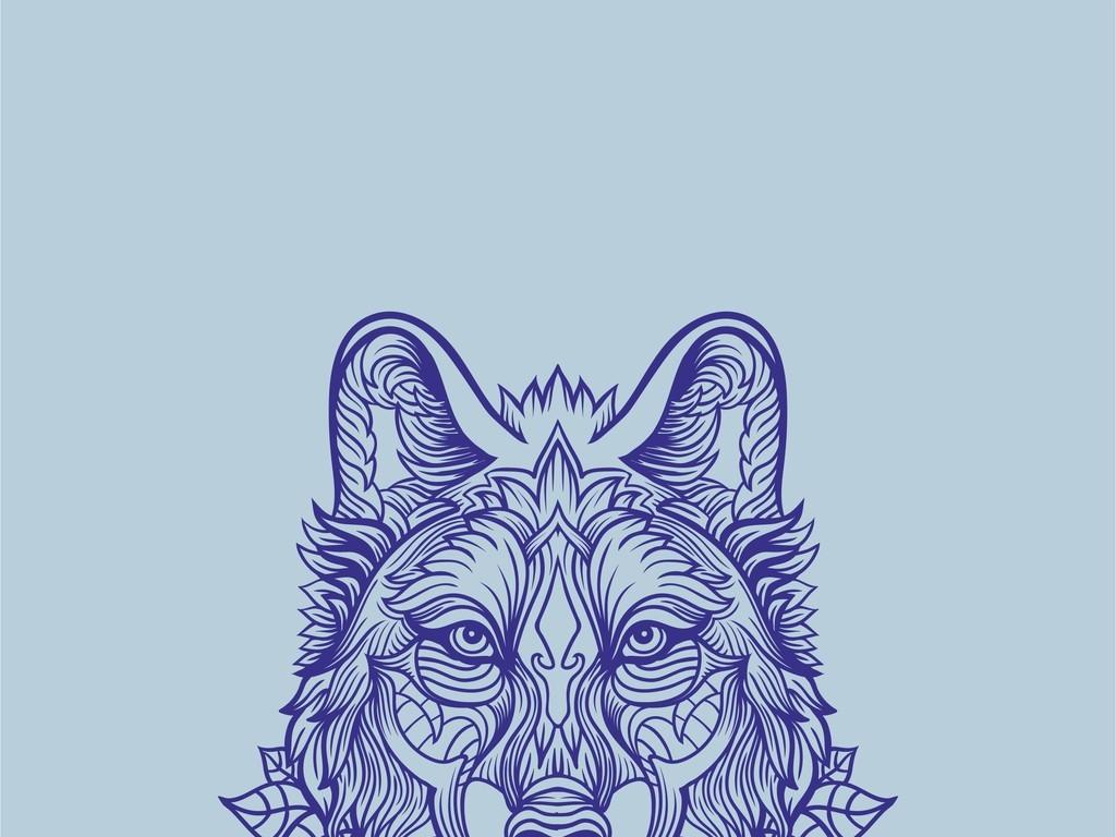 产品图案设计 t恤图案 文化艺术图案 > 植物花卉叶子狼头像印花图案图片