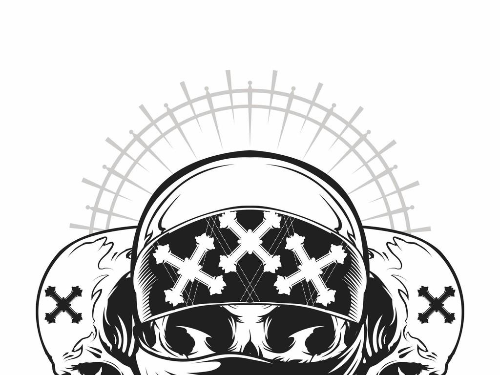 字母印花骷髅头大牌矢量图欧货骷髅头印花图案潮牌街头印花图案骷髅头