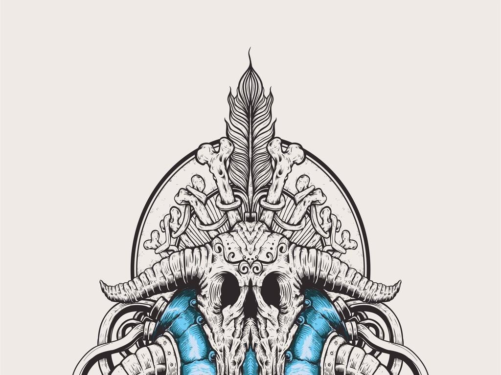 宗教文化牛头骨骷髅头大牌欧货t恤印花图案
