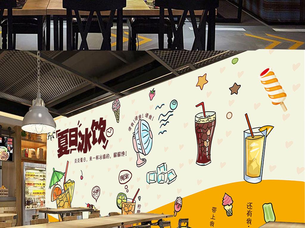 欧美手绘下午茶冷饮蛋糕店背景墙