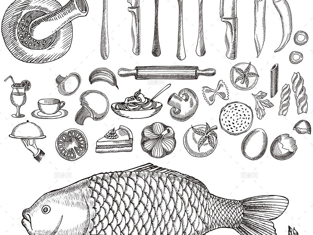 海报设计 创意海报 国外创意海报 > 高档手绘海鲜餐厅菜单菜谱矢量