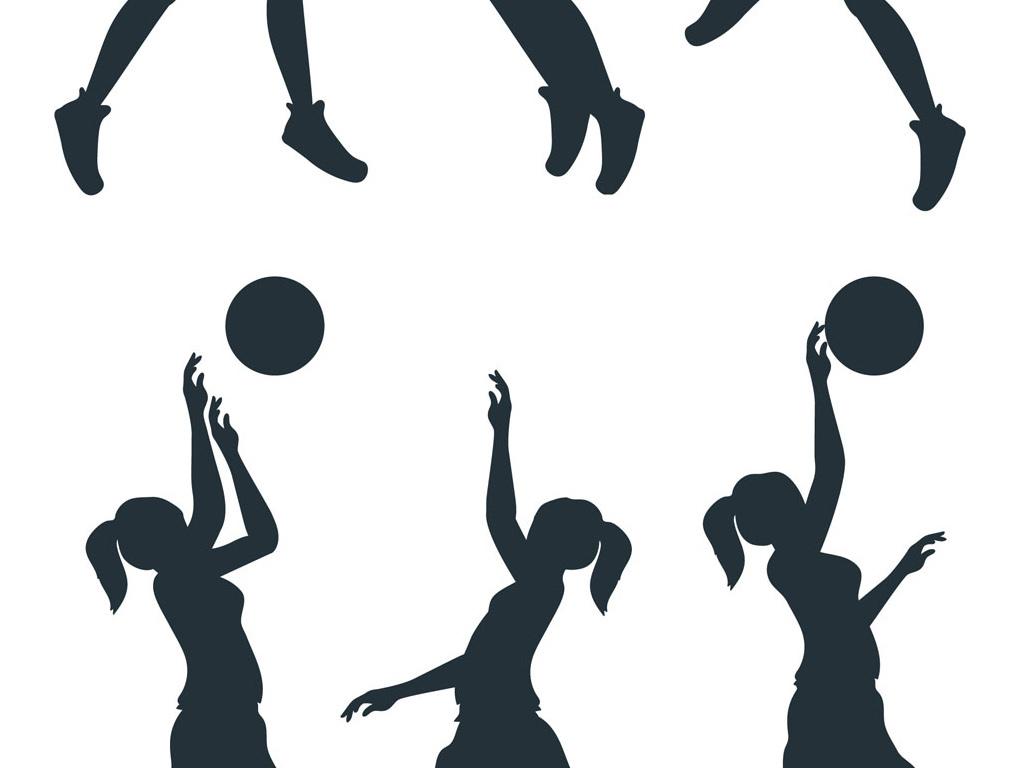 女生篮球人物剪影