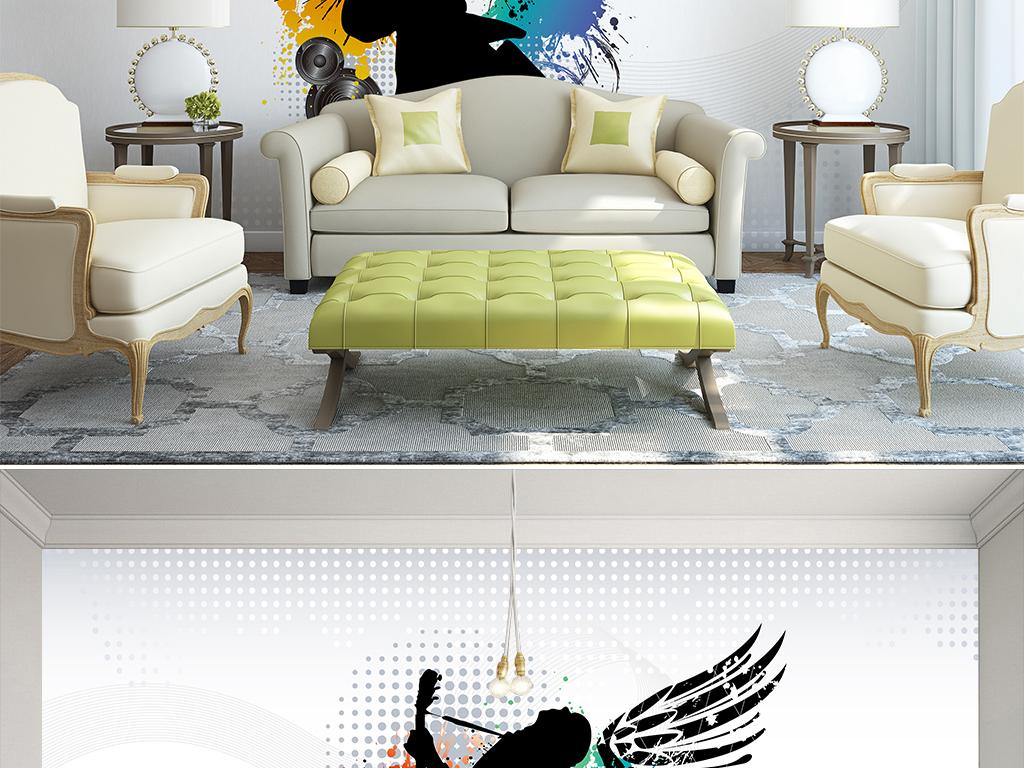 手绘涂鸦dj音乐客厅卧室壁纸墙纸图案38