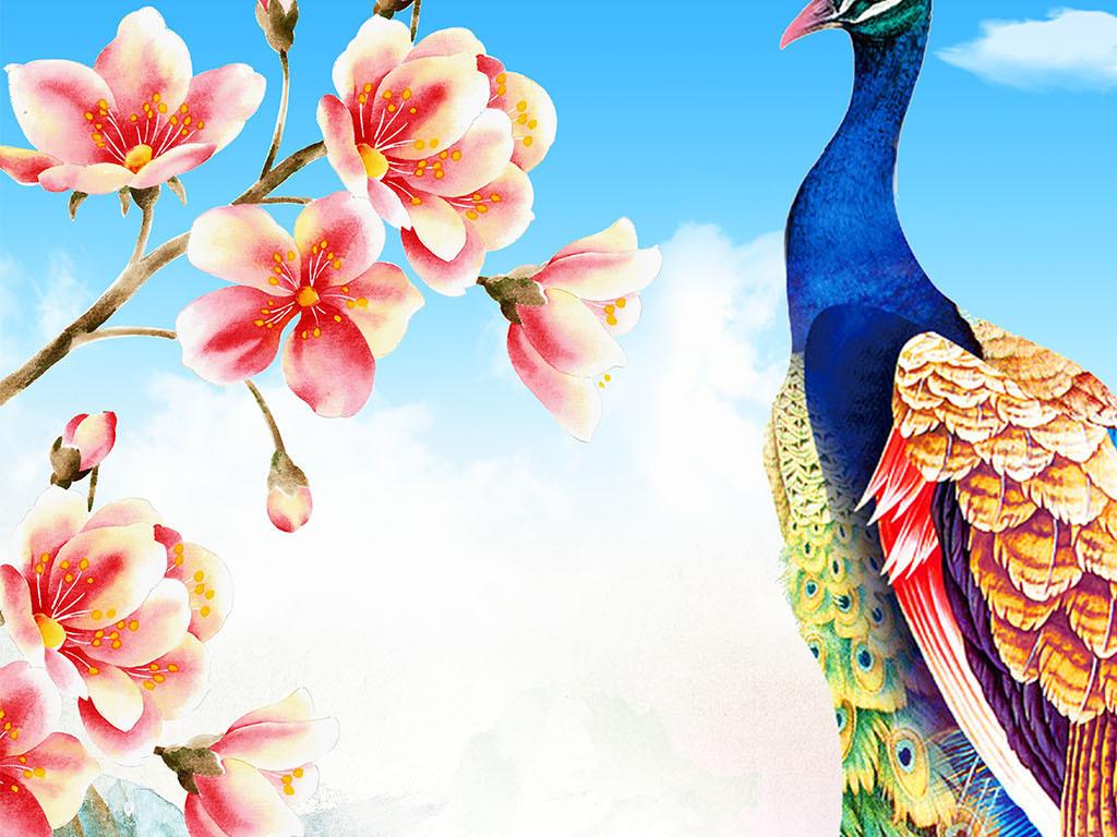 欧式手绘孔雀玉兰玄关壁画