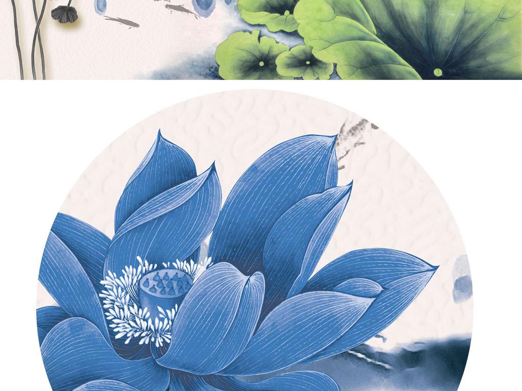 中式背景墙复古荷花手绘背景新中式抽象手绘