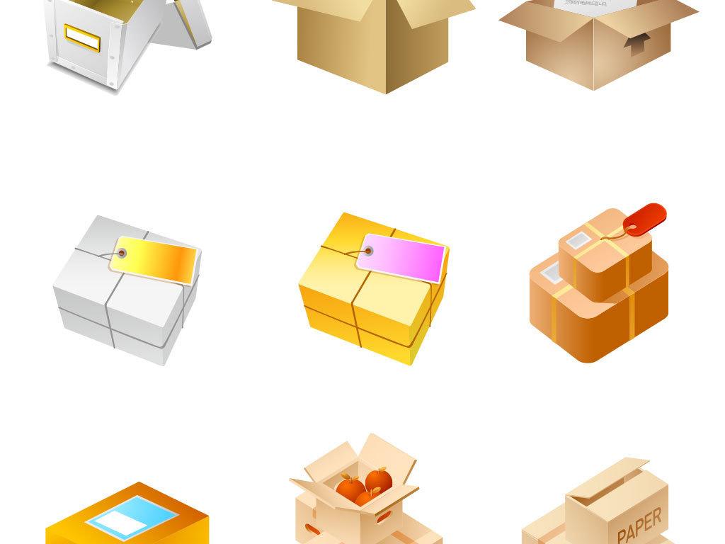 > 物流快递箱子矢量图标  物流快递箱子矢量图标图片素材参数 编号
