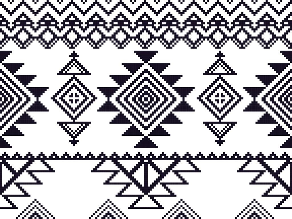 抽象几何抱枕图案设计民族图案