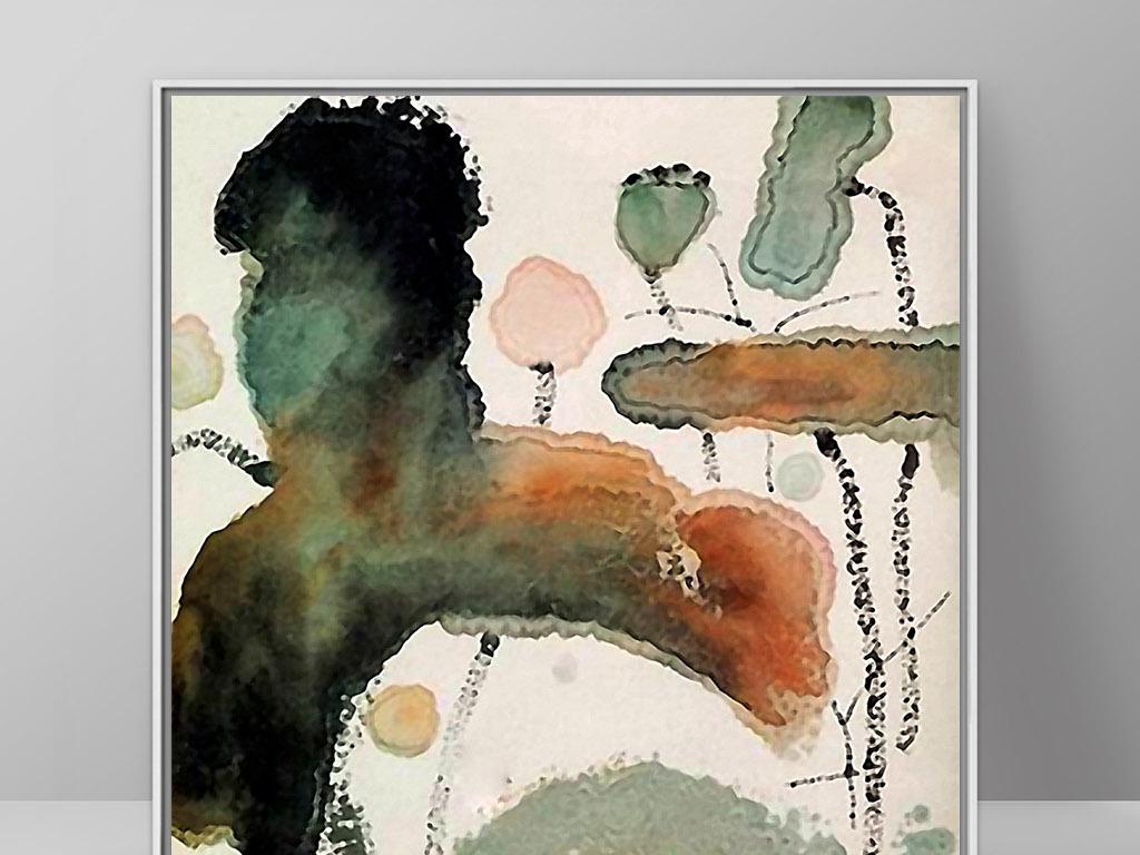 秋天枯萎莲叶荷塘莲花手绘新中式水墨装饰画