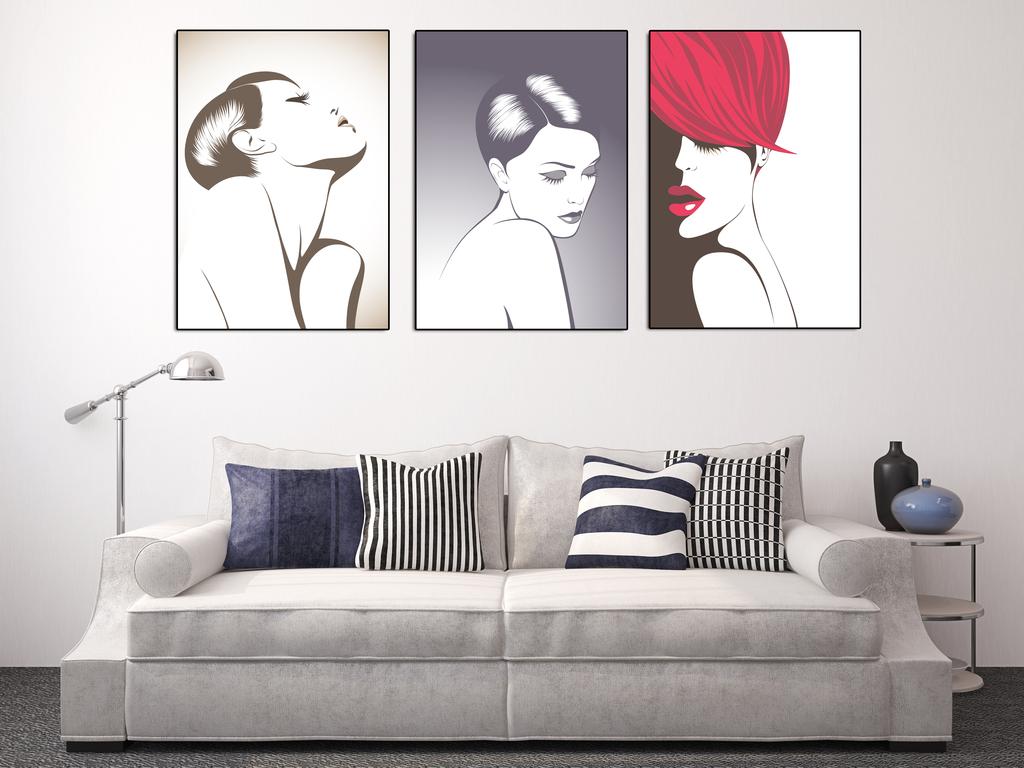 客厅线描黑白室内人物装饰画造型美发美容