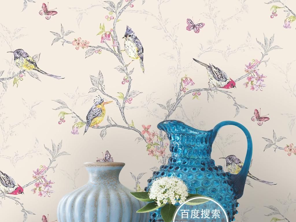 复古欧式新中式手绘花鸟蝴蝶墙纸壁画背景墙