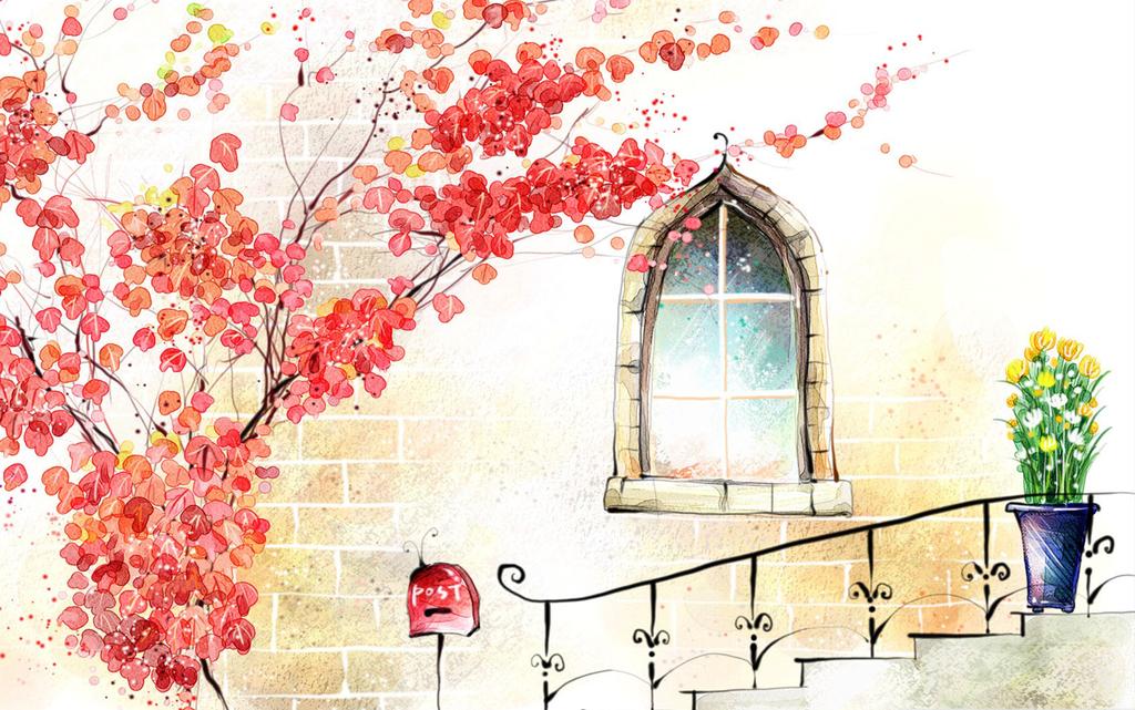 油画手绘樱花阶梯爱情浪漫梦幻挂画高清建筑