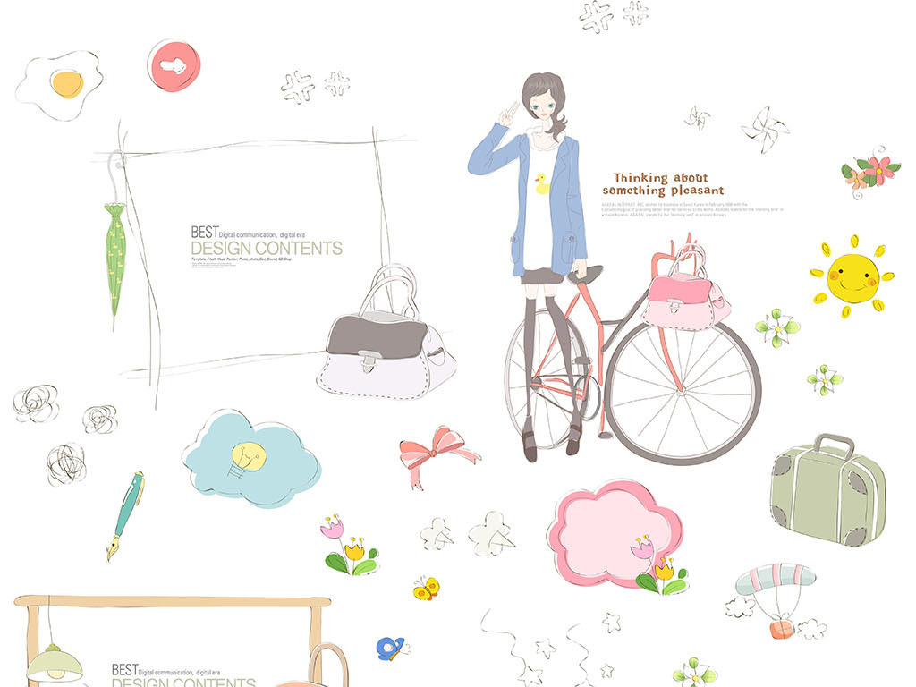 花纹边框人物插画儿童相册唯美对