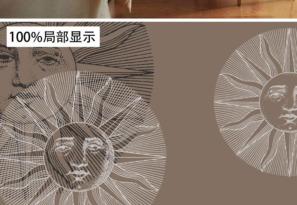 欧式墙纸 > 复古欧式手绘太阳神抽象图案墙纸壁画背景墙  素材图片