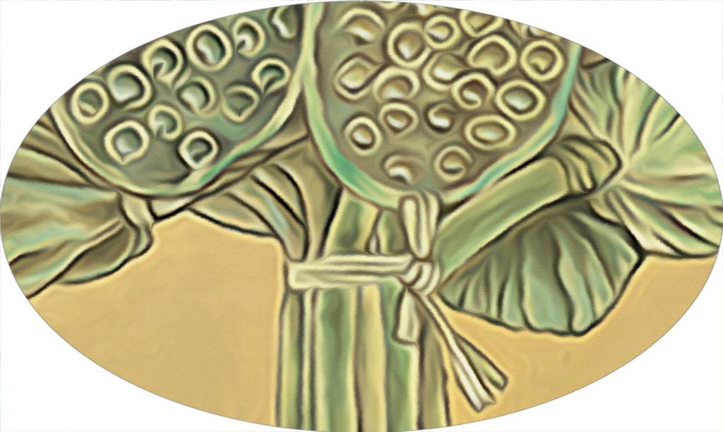 现代彩绘水墨画莲子花束荷花池无框装饰画