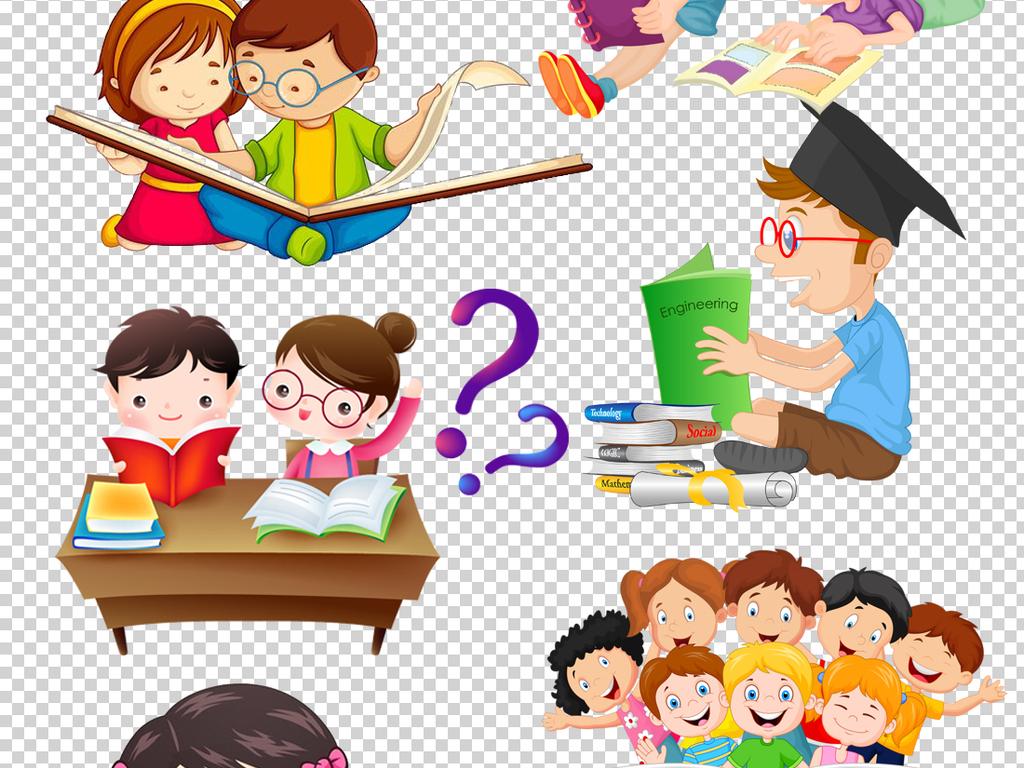书本儿童卡通人物上课知识学校卡通背景读书卡通素材学习卡通儿童儿童