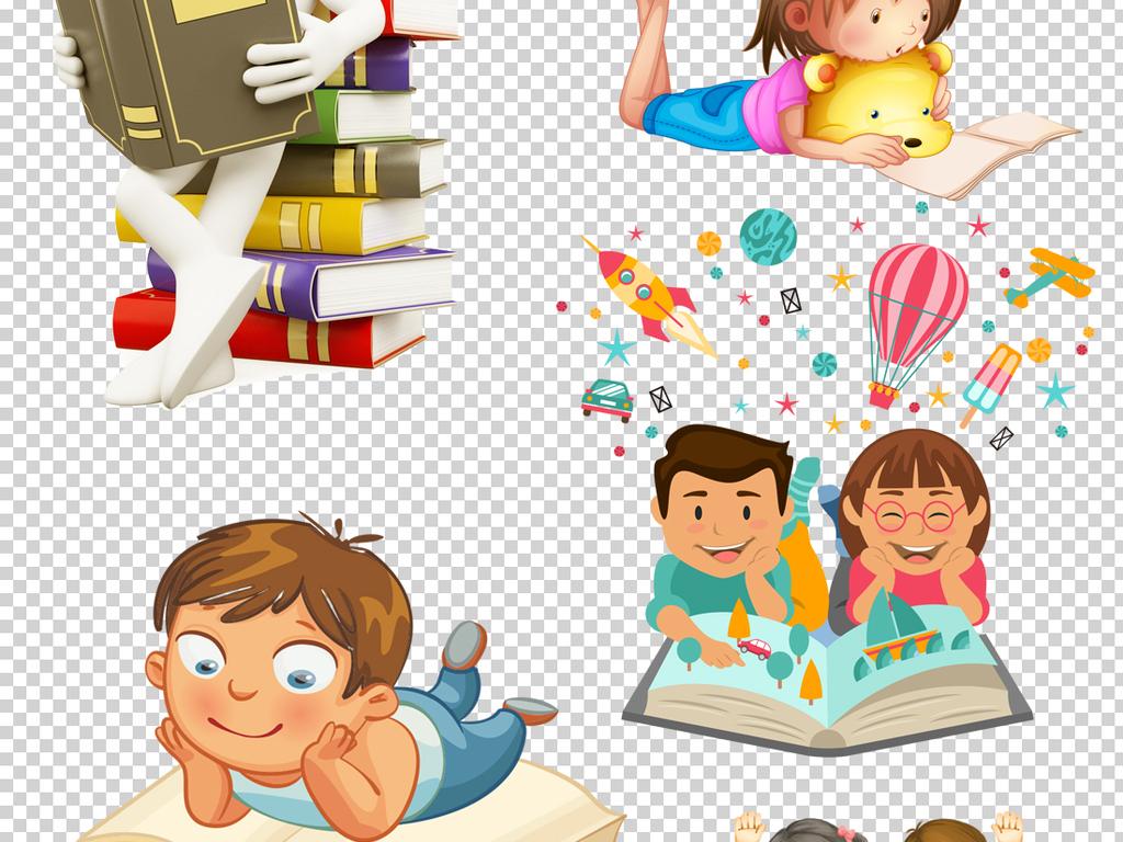读书海报背景朗读幼儿园看书书本儿童卡通人物上课知识学校卡通背景读