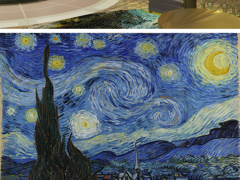 作品模板源文件可以编辑替换,设计作品简介: 梵高抽象油画星空电视