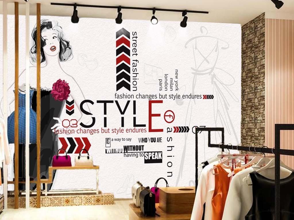 欧美时尚手绘美女服装店背景墙
