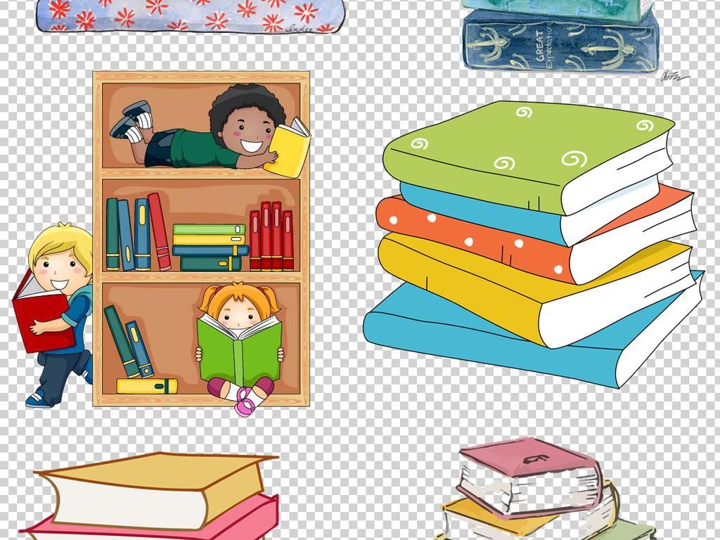 翻开的书本旧书本卡通书本手绘学习用品教育手绘背景png背景手绘卡通