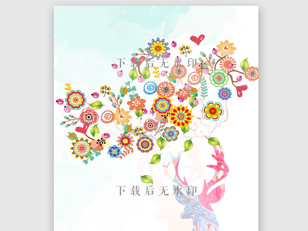 产品图案设计 数码/配件图案 动物图案 > 原创手绘水彩麋鹿花卉手机壳