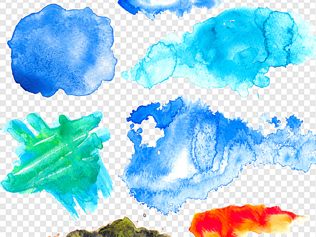 手绘水彩彩色水墨泼墨