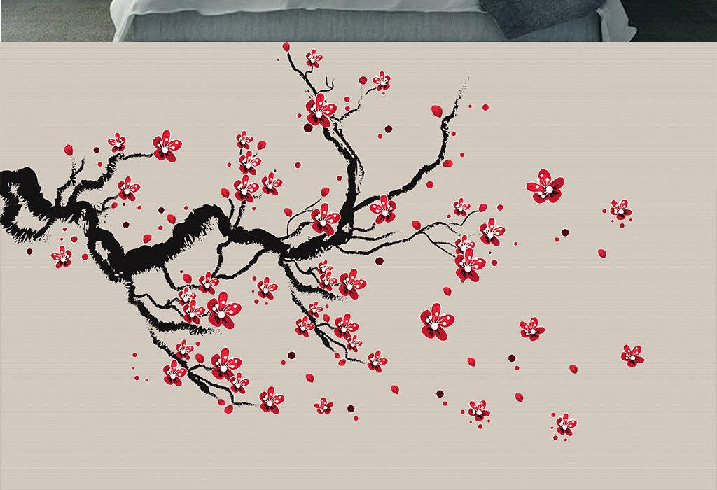 新中式梅花手绘工笔花鸟背景墙装饰画