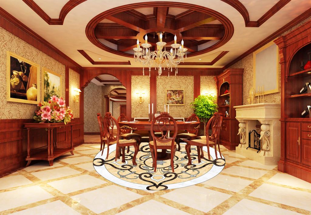 新中式古典花纹高清分层大理石纹地砖拼花图片