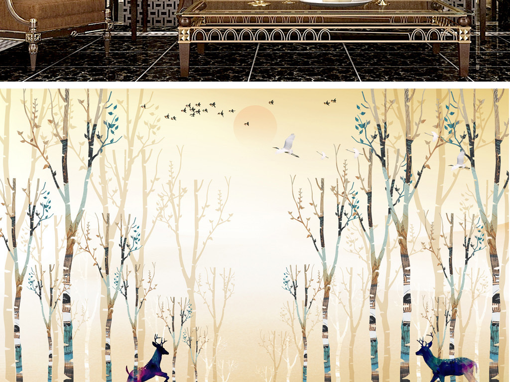 手绘森林鹿艺术背景墙