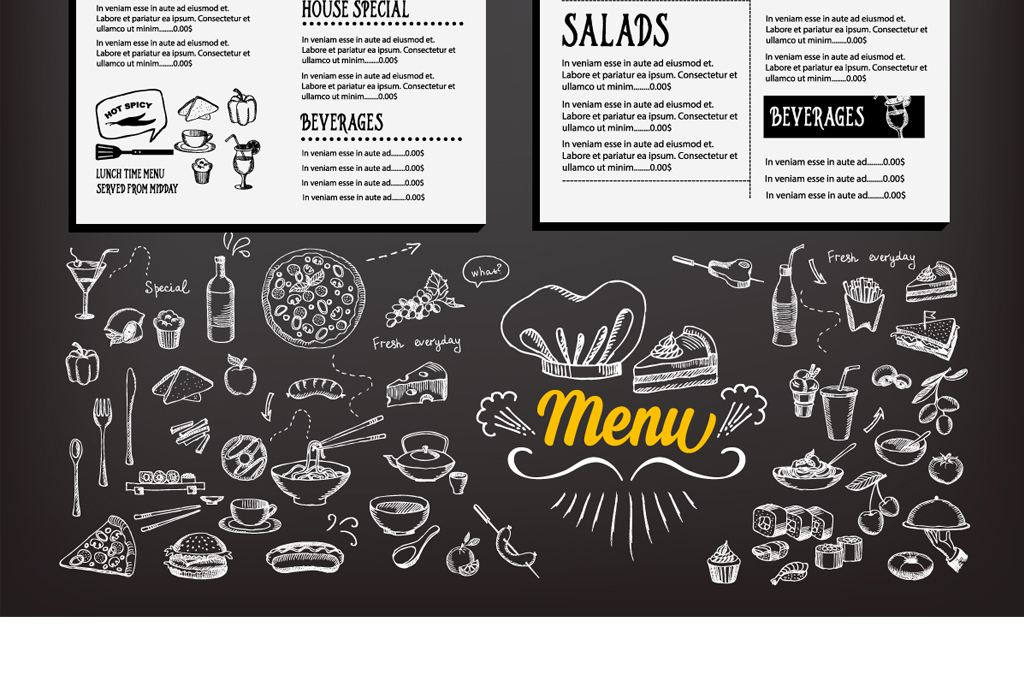 点餐单菜谱餐饮酒店酒水单黑板粉笔字图片设计素材_(.图片