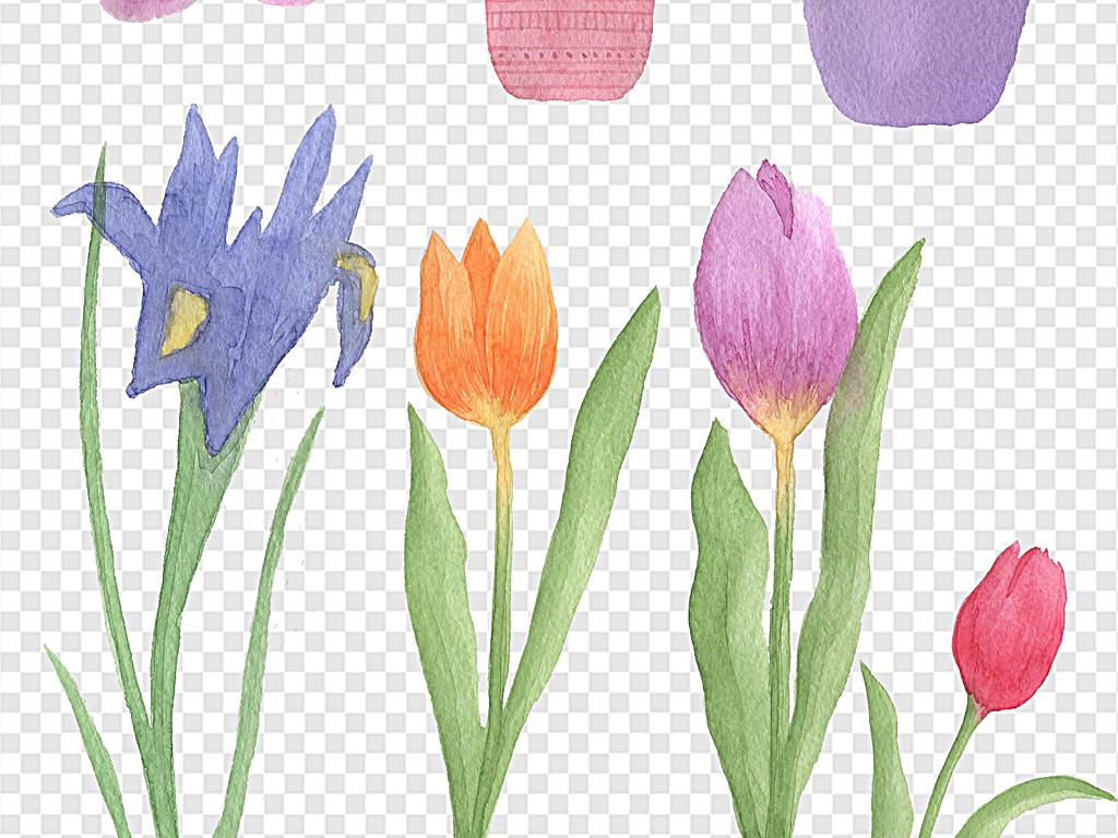 手绘花朵水彩花环手绘小花蓝色小花