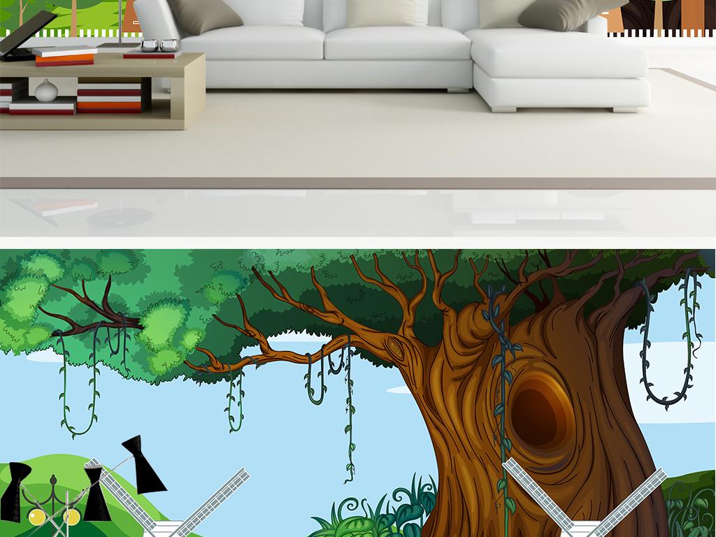 高清欧美手绘卡通参天大树绿色儿童房背景墙