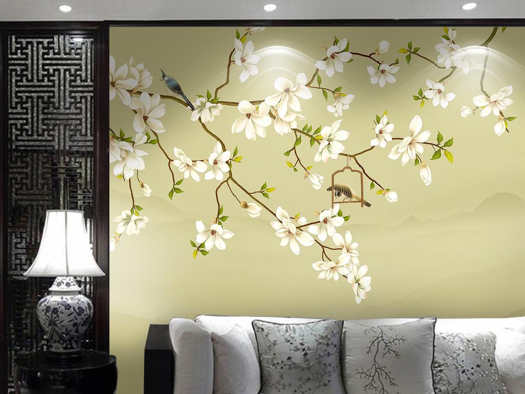 新中式玉兰手绘花鸟背景墙欧式花纹装饰画