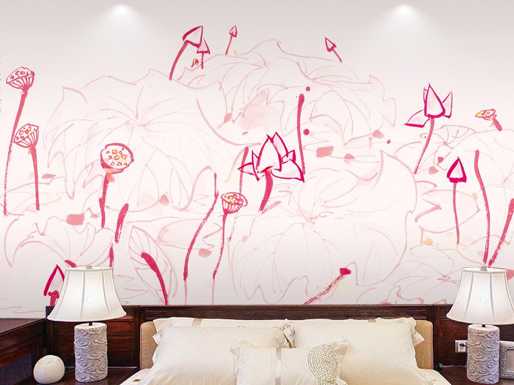 新中式清新手绘荷花卧室装饰画沙发背景墙