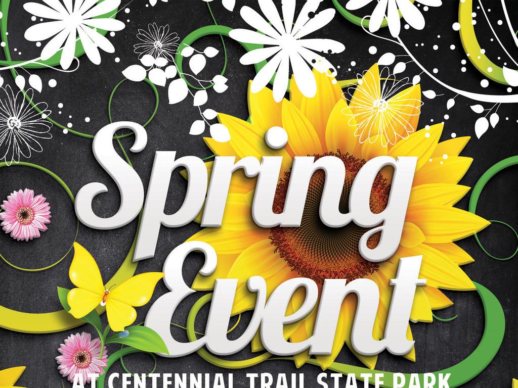 时尚花卉黑板粉笔手绘花纹春夏促销海报模板