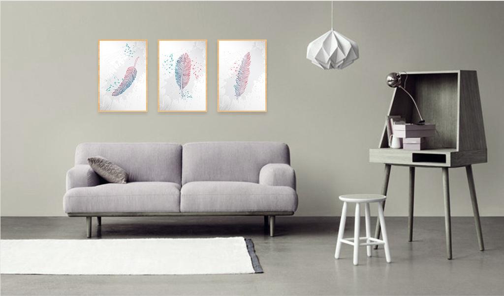 客厅北欧风格彩色羽毛床头沙发墙装饰画图片