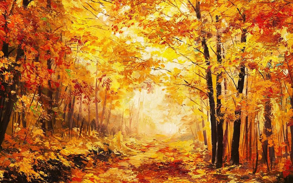 油画树林秋天落叶金黄树叶文艺挂画高清壁画图片