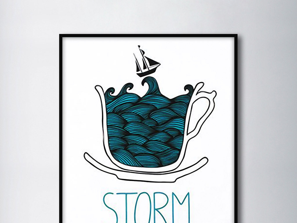 57 我图网提供精品流行杯子中的风暴北欧创意现代手绘家居装饰画素材图片
