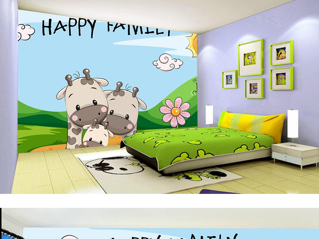 儿童房背景墙 > 清新手绘卡通长颈鹿动物儿童房幼儿园装饰画