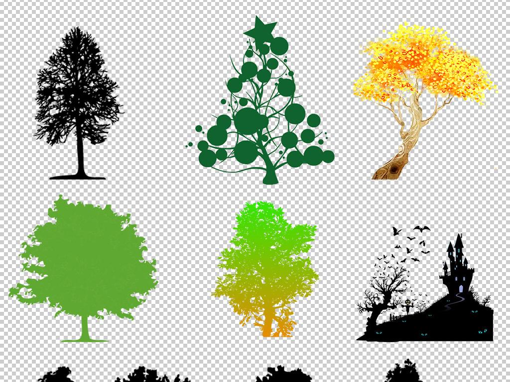 黑白树图片手绘树彩绘树树枝树杈树条城堡高山山林黑白树木剪影png