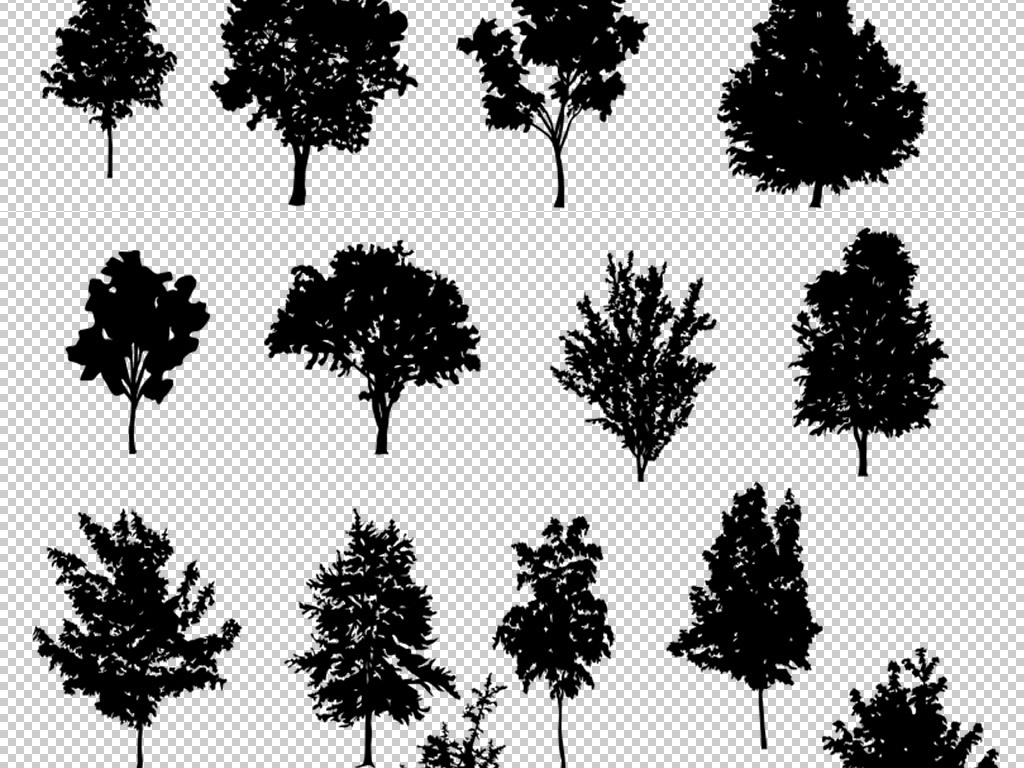 多款黑白树木剪影png免扣图片