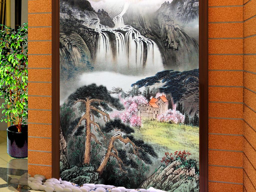 古典国画水墨画风景画客厅玄关